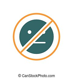 Forbidden sign with a expressionless emoji colored icon. No emotions, indifferent symbol