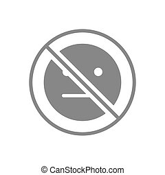 Forbidden sign with a expressionless emoji gray icon. No emotions, indifferent symbol