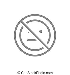 Forbidden sign with a expressionless emoji line icon. No emotions, indifferent symbol