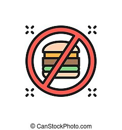 Forbidden sign with a hamburger, no fast food flat color line icon.