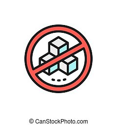 Forbidden sign with a sugar, no sweets flat color line icon.