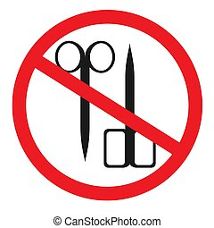 Forbidden sign with scissors glyph icon. No cutting prohibition.