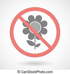 Forbidden signal with a flower