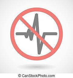 Forbidden signal with a heart beat sign