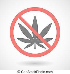 Forbidden signal with a marijuana leaf
