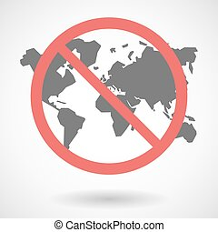Forbidden signal with a world map