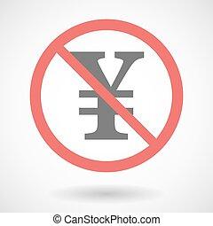 Forbidden signal with a yen sign