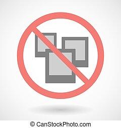 Forbidden signal with photos