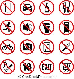 Forbidden signs. Prohibition and warning vector signal isolated icons