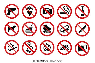 The collection of forbidden signs. Set of 15 icons.