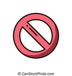 forbidden symbol icon, colorful fill style