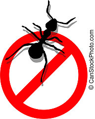Illustration of forbidden to enter ants. Vector available