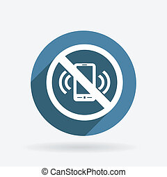forbidden to use mobile phone. Circle blue icon