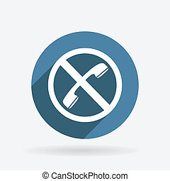forbidden to use phone. Circle blue icon