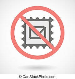Forbidden vector signal with   a mail stamp sign