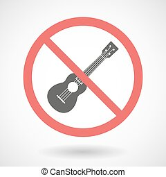 Forbidden vector signal with an ukulele - Illustration of a ...