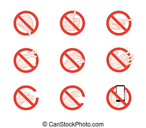 Forbidding Signs business hand gestures icons vector...
