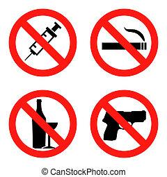 Forbidding Signs No Smoking , No Drugs , No Weapon and No...