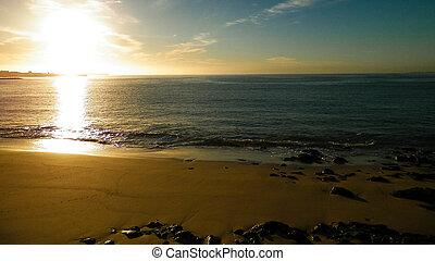 forbløffende, solopgang, hen, atlantisk, ocean.