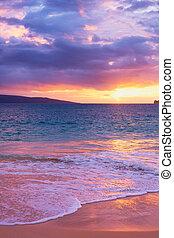 forbløffende, strand, solnedgang, tropisk