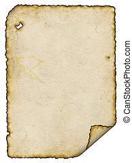 forbrænd, pergament