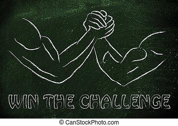 force, gagner, défi, design:, lutte, procès, bras
