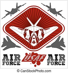 force, illustration., -, nous, air, vecteur, militaire, design.