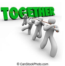 force, mot, puling, ensemble, nombres, équipe, lettres, levage, 3d