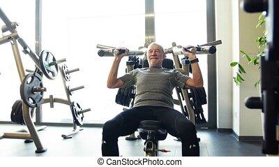 force, séance entraînement, gym., personne agee, exercice, homme