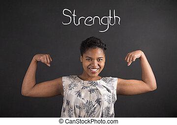 force, tableau noir, bras, femme américaine, fond, africaine, fort