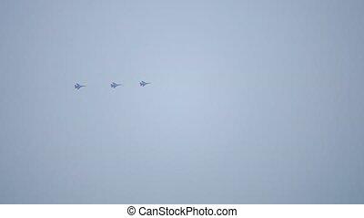 force, voler, ciel, trois, air, combattants, russe