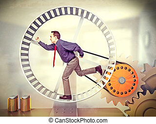 forced labour - businessman run in huge hamster wheel