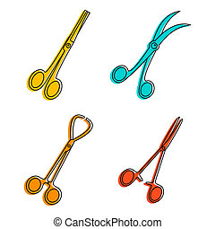 Forceps icon set, color outline style