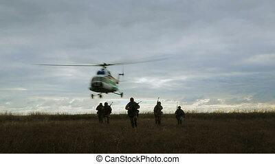 forces spéciales, atterrissage, crépuscule