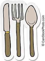 forchetta, adesivo, cucchiaio, coltello, cartone animato