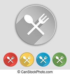 forchetta, appartamento, buttons., segno., crosswise, mangiare, cucchiaio, vettore, cinque, coltelleria, simbolo, icona