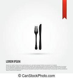 forchetta, appartamento, disegno, sagoma, icon., style., coltello, design.