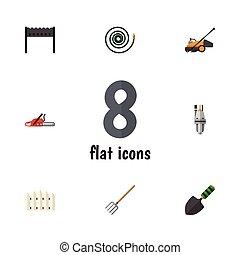 forchetta, appartamento, set, forchetta, elements., fieno, dacha, hosepipe, include, anche, vettore, barbecue, legno, objects., tubo, altro, icona