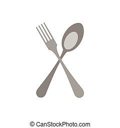 forchetta, appartamento, stile, cucchiaio, attraversato, icona