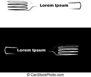 forchetta, bianco, sfondo nero