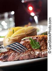 forchetta, bistecca, cotto ferri