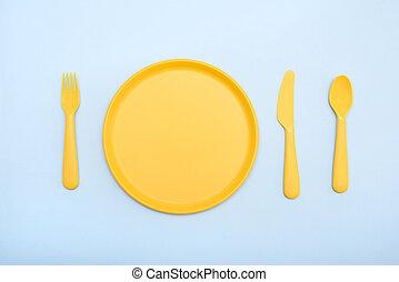 forchetta, blu, color:, piastra, giallo, tableware, fondo, coltello
