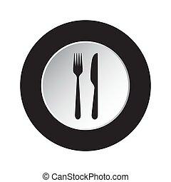 forchetta, bottone, -, nero, bianco, rotondo, icona coltello
