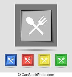 forchetta, buttons., colorato, mangiare, crosswise, segno, cucchiaio, vettore, cinque, coltelleria, originale, icona