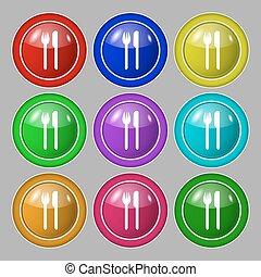 forchetta, buttons., simbolo, coltelleria, simbolo., vettore, nove, knife., icon., segno, colorito, mangiare, rotondo