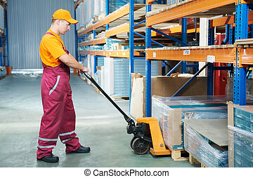 forchetta, camion, lavoratore, pallet