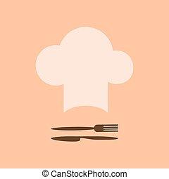 forchetta, cappello chef, coltello