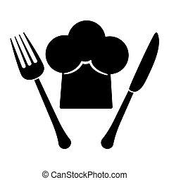 forchetta, cappello chef, contorno, coltello