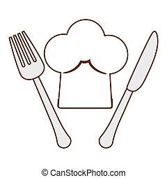 forchetta, cappello, chef, silhouette, coltello