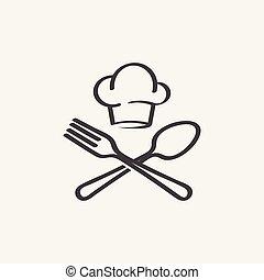 forchetta, cappello chef, vettore, cucchiaio